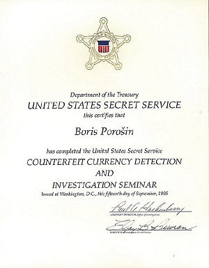 Certifikát UNITED STATES SECRET SERVICE